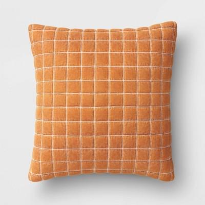 Square Velvet Grid Embroidered Pillow Ginger - Threshold™