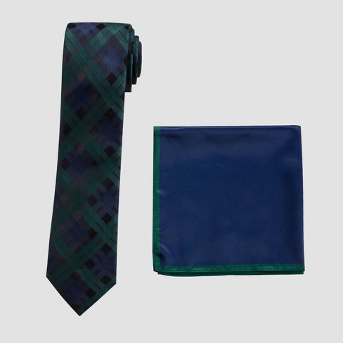Men's Draper Blackwatch Tie and Pocket Square Set - Goodfellow & Co™ Green One Size - image 1 of 1