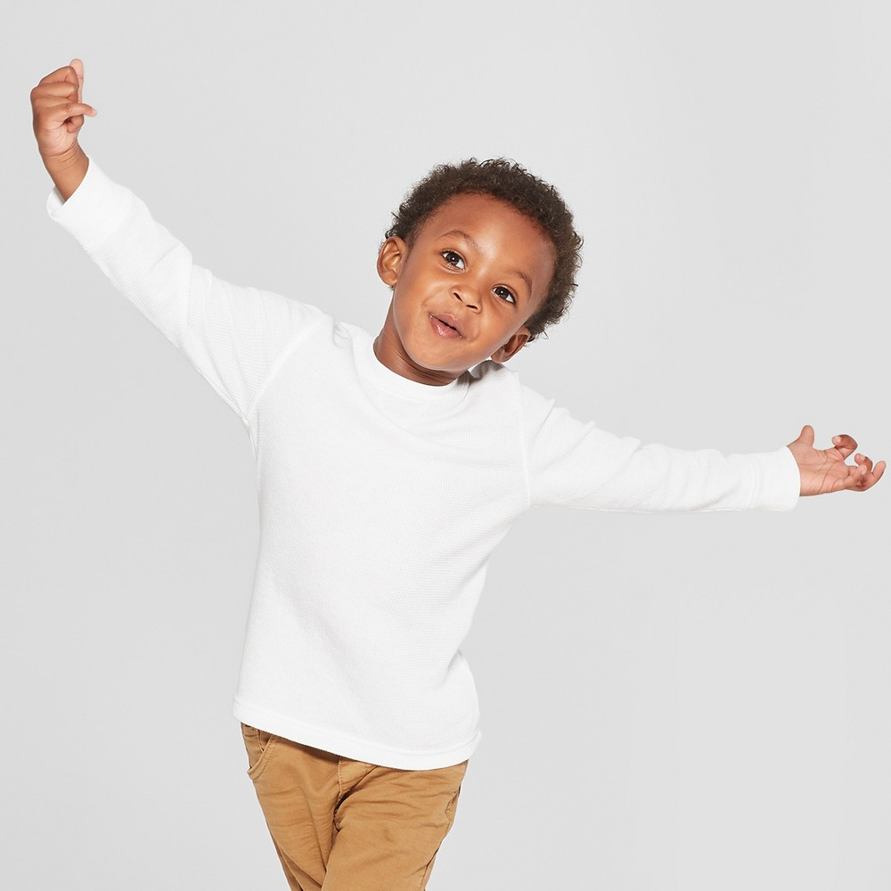 Toddler Boys' Thermal Long Sleeve T-Shirt - Cat & Jack White 18M