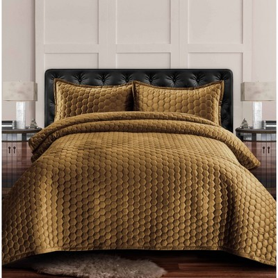 Lugano Honeycomb Velvet Oversized Solid Quilt Set - Tribeca Living