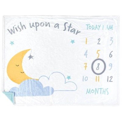 Hudson Baby Unisex Baby Plush Holiday and Milestone Blanket - Wish Upon A Star One Size
