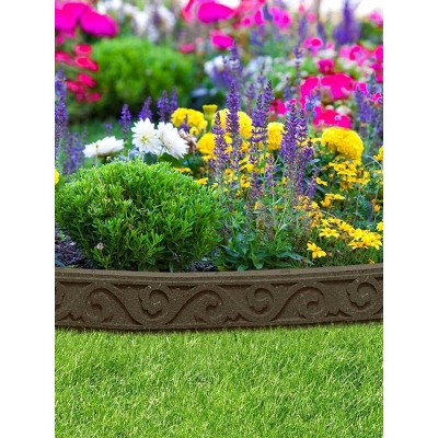 Scroll Recycled Rubber Landscape Edging 4ft - Gardener's Supply Company