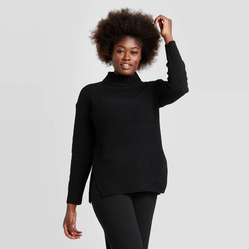 Women's Mock Turtleneck Tunic Pullover Sweater A New Day™ Black XL