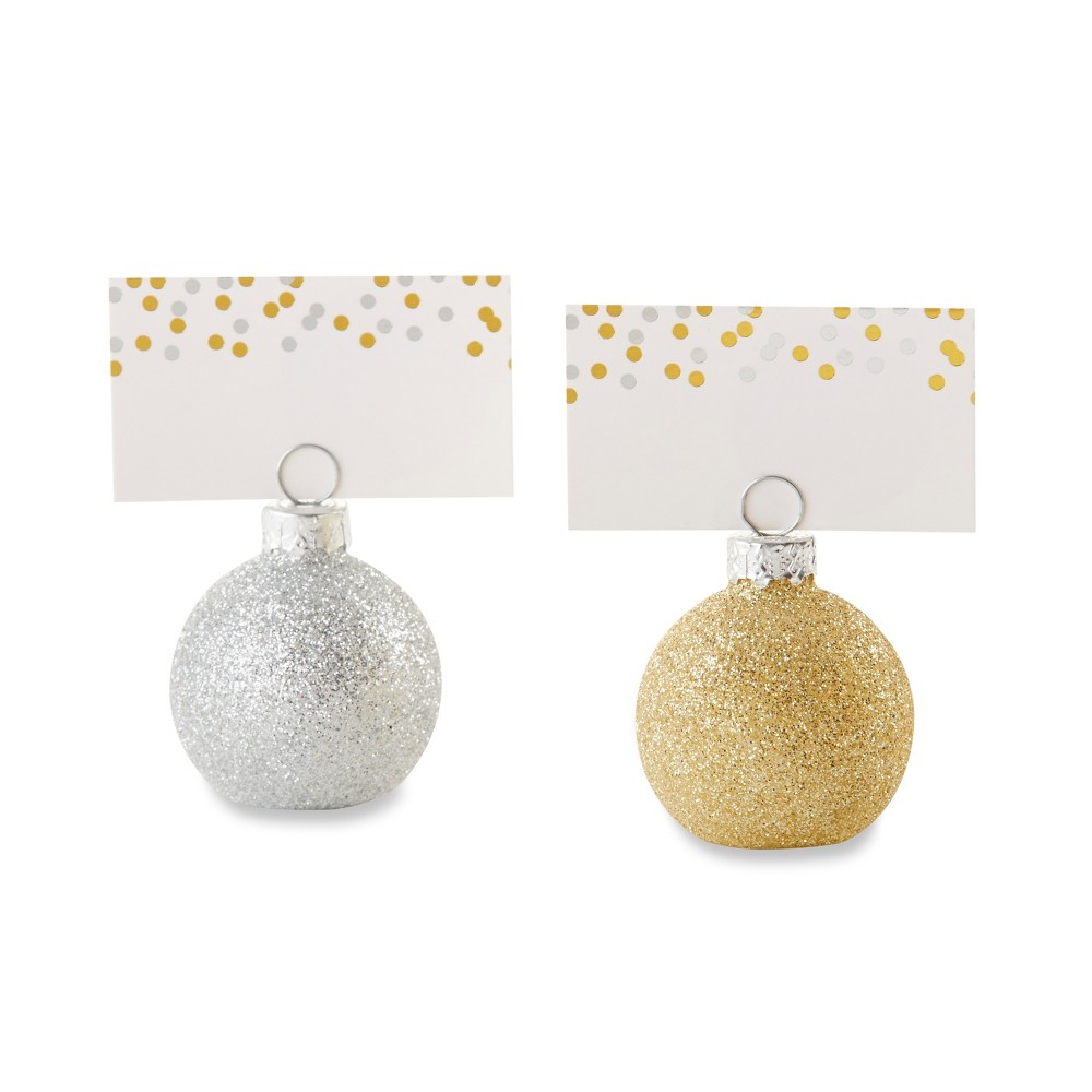 Kate Aspen Set Of 6 Ornaments Place Card Holder Gold and Sliver
