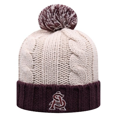 NCAA Arizona State Sun Devils Women's Natural Cable Knit Cuffed Beanie with Pom