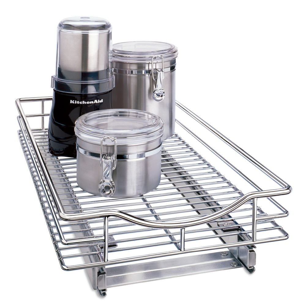 "Image of ""Lynk Professional Slide Out Cabinet Organizer - Pull Out Under Cabinet Sliding Shelf - 11"""" wide x 18"""" deep - Chrome"""