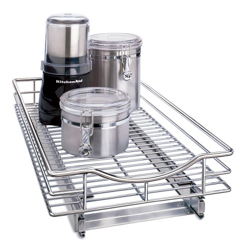 """Lynk Professional Slide Out Cabinet Organizer - Pull Out Under Cabinet Sliding Shelf - 11"""" wide x 18"""" deep  - Chrome - image 1 of 4"""
