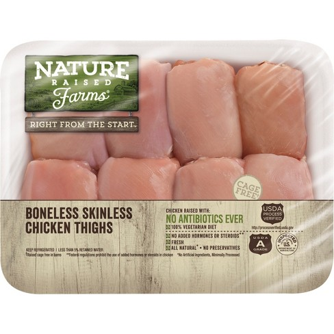 Nature Raised Farms Antibiotic Free Boneless Skinless Chicken Thighs - 0.64-2lbs - priced per lb - image 1 of 2