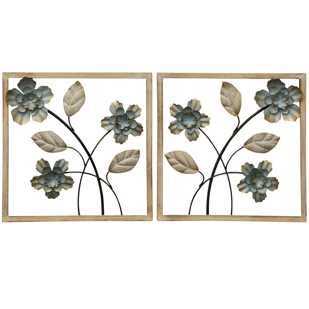14 2pc Framed Floral I Traditional Wood and Metal Material Decorative Wall Art White - StyleCraft