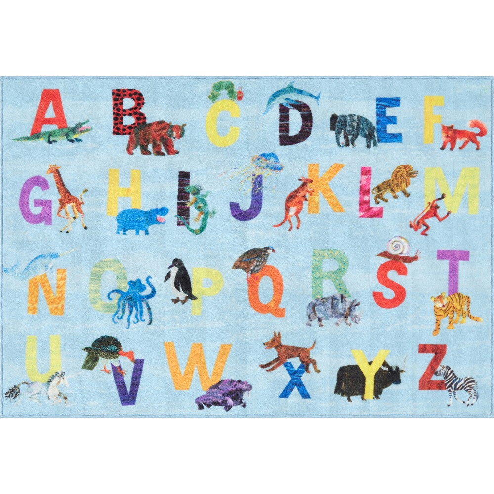 "Image of ""Eric Carle Alphabet Area Rug (4'11""""x6'6"""") Blue - Home Dynamix"""