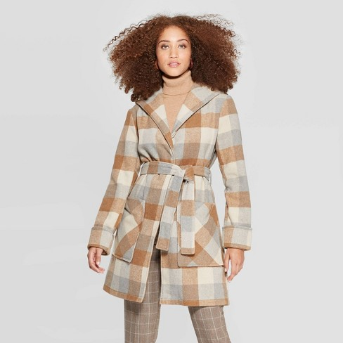 Women's Plaid Hooded Wrap Jacket - A New Day™ Camel - image 1 of 2