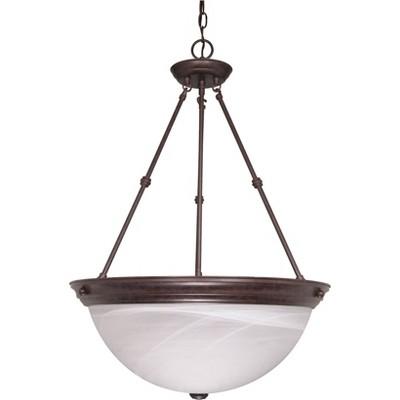 3 Light Pendant with Alabaster Glass Old Bronze - Aurora Lighting