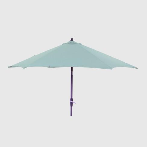 7.5' Round Patio Umbrella Aqua - Black Pole - Threshold™ - image 1 of 3
