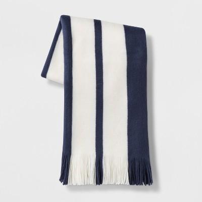 Cozy Stripe Throw Blanket Blue/Cream - Threshold™
