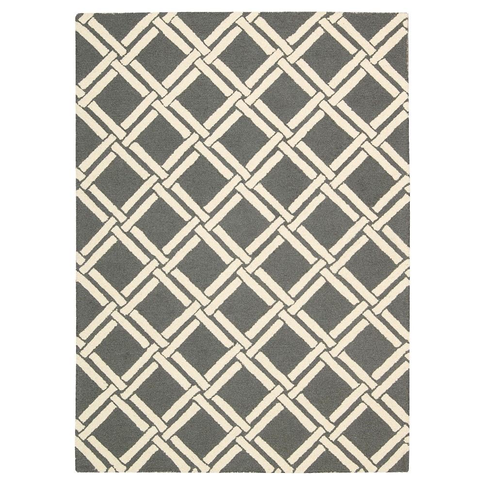 "Image of ""Nourison Diamond Lattic Linear Accent Rug - Gray/Ivory (3'9""""X5'9"""")"""