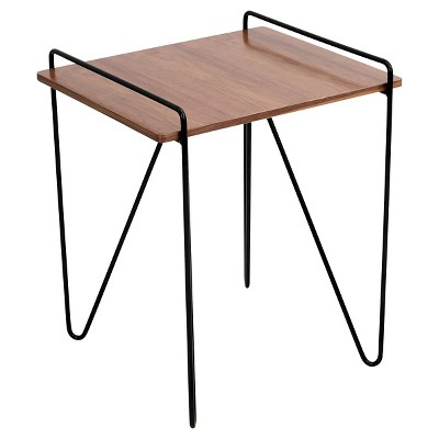 Loft Mid Century Modern End Table - Walnut/Black - Lumisource