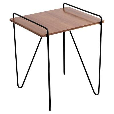 Loft Mid Century Modern End Table   Walnut/Black   Lumisource