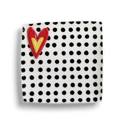 DEMDACO Black Dots Platter 11 x 11 - White