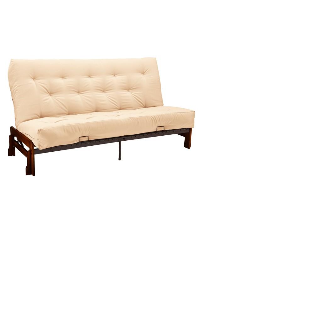 Low Arm 8 Inner Spring Futon Sofa Sleeper - Walnut Wood Finish - Twill Off - White Upholstery - Size - Epic Furnishings, Ivory