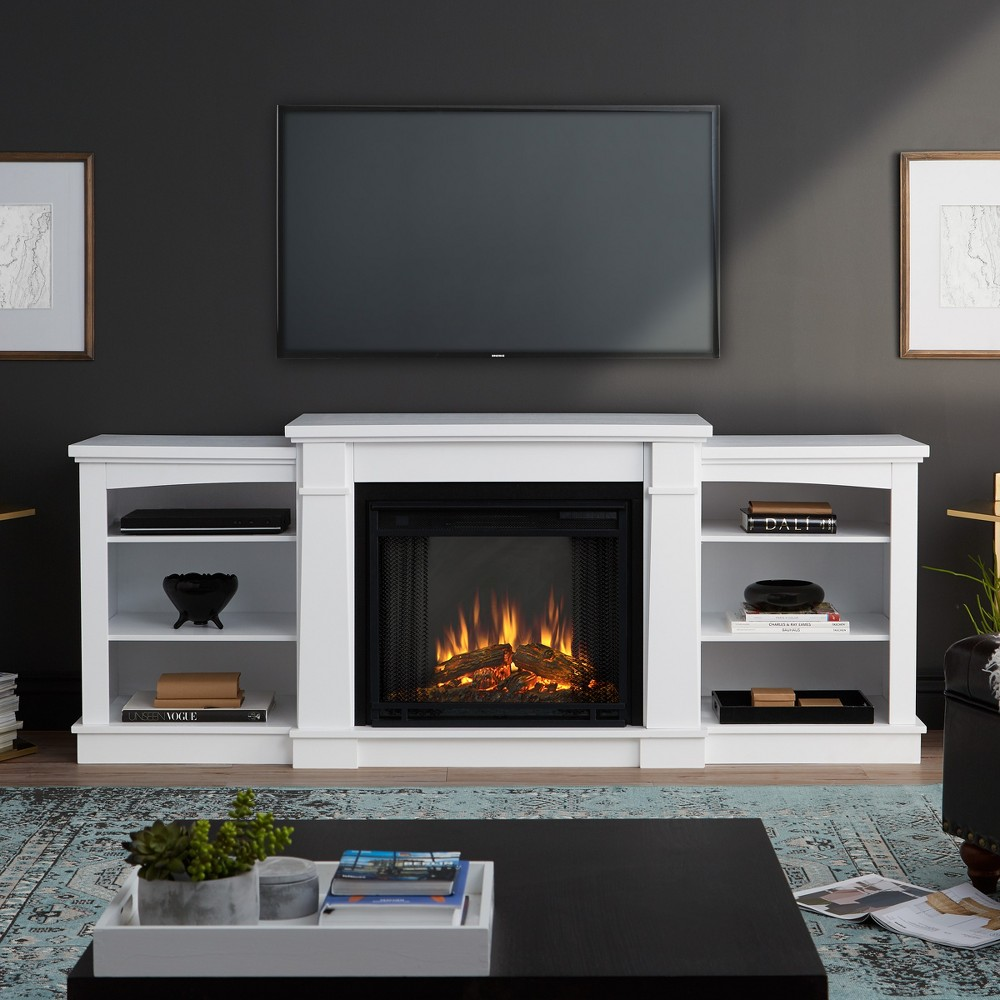 74 Hawthorn Electric Fireplace Entertainment Center White - Real Flame