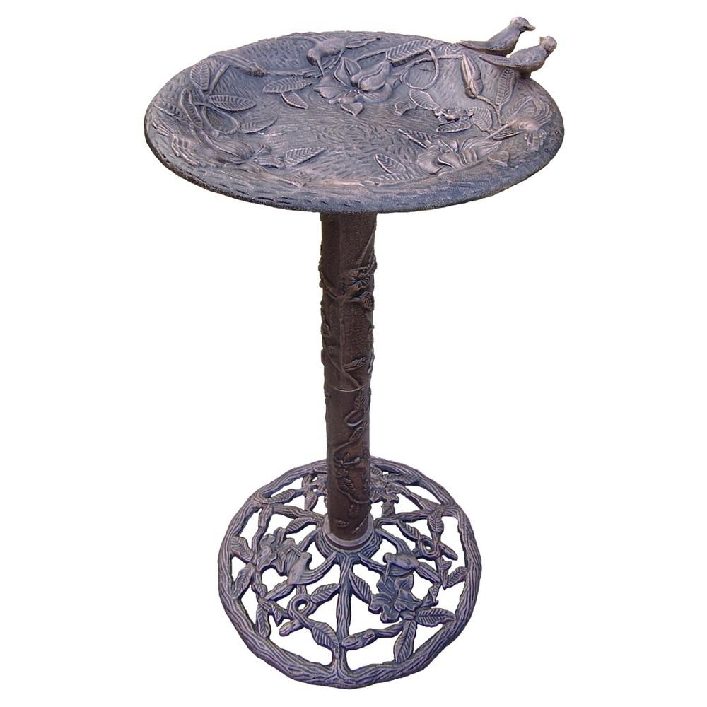 "Image of ""32"""" Hummingbird Bird Bath - Antique Bronze"""