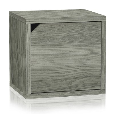 Way Basics Eco Stackable Connect Door Cube Modular Cubby Organizer Storage System Gray