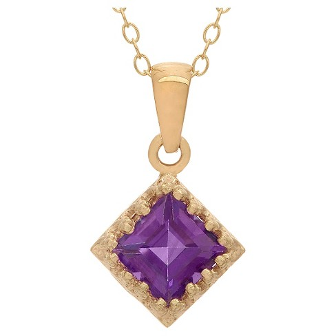 Tiara Gold Over Silver Princess-cut Birthstone Crown Pendant - image 1 of 1