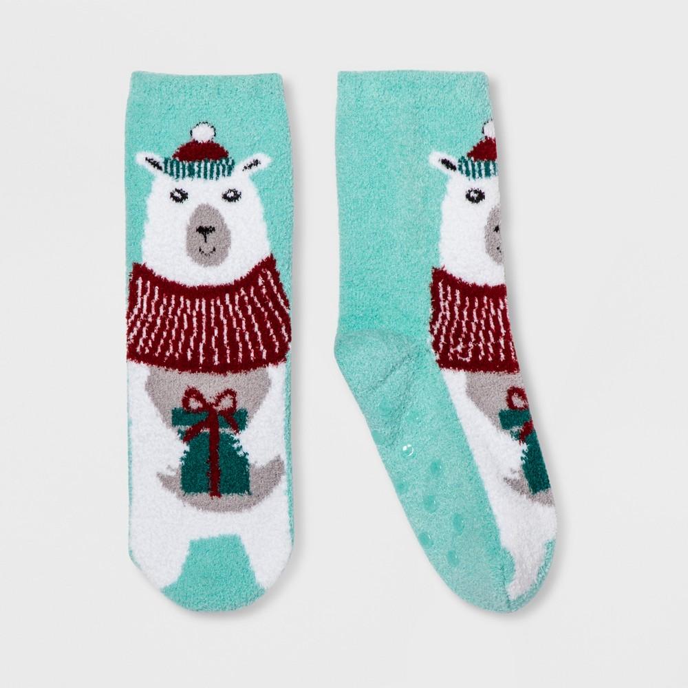 Girls' Holiday Polar Bear Socks - Wondershop Aqua M, Blue