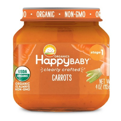 HappyBaby Clearly Crafted Carrots Baby Meals Jar - 4oz