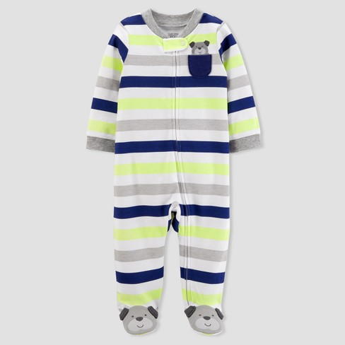 Baby Boys' Dog Pocket Striped Sleep N' Play - Just One You™ Made by Carter's®  Silver - image 1 of 2