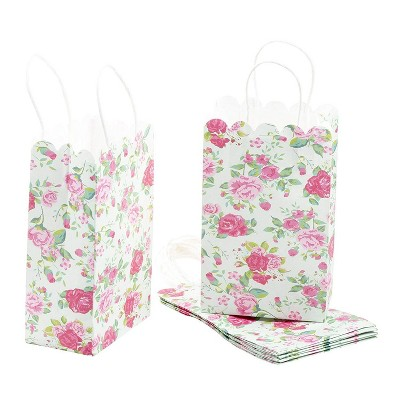 Blue Panda 24-Pack Pink Rose Party Favor Paper Gift Bags with Handles, Treat Bags for Weddings, 5.3x8.5x3.1 in