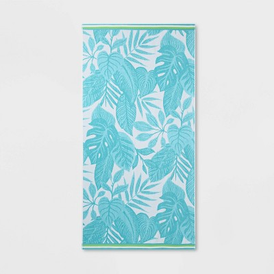 XL Palm Leaves Beach Towel Blue - Sun Squad™