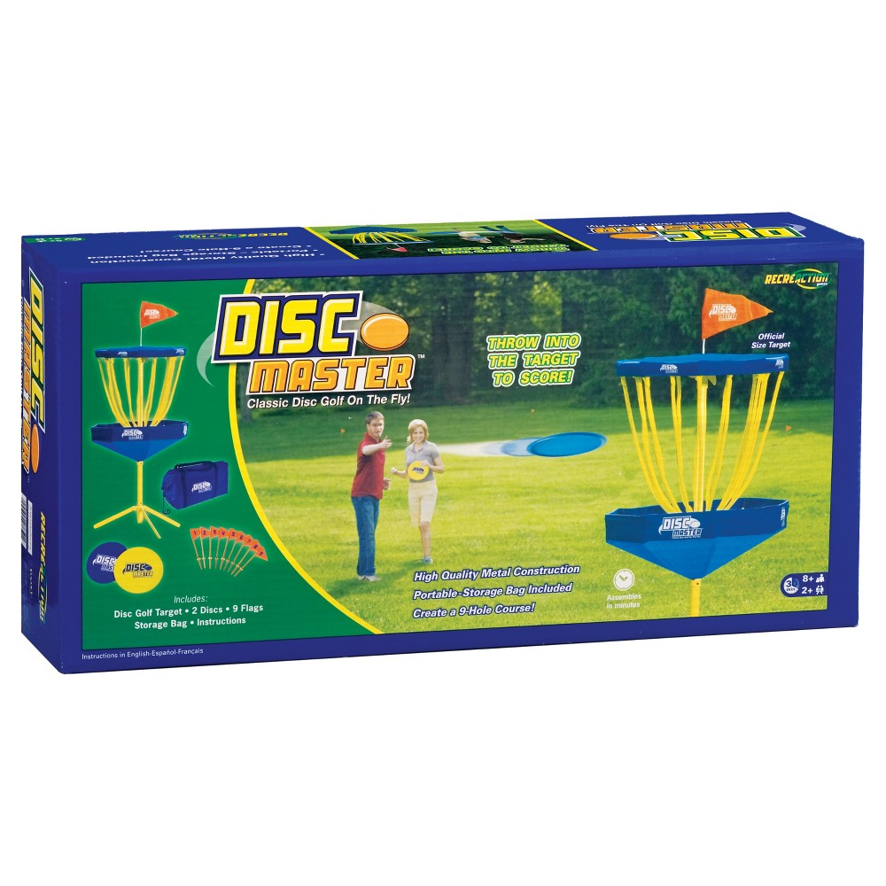 Fundex Games Disc Master, Tabletop Sports Games It's the latest fling in Disc Golf, as the sport goes airborne with Disc Master! The movable goal sets up anywhere, as players customize their own courses to fit their skill ranges and the playing field. Players fling their discs from long distances and putt from short ranges. Nine flags distinguish the holes for a full game of flying disc fun! Victory is in the air, so just fling it! Includes a portable fold-up goal, 2 discs, 9 numbers flags, score sheets, a take anywhere storage bag and instructions. For ages 8 and up. Gender: Unisex.