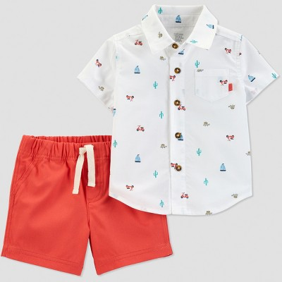 Baby Boys' 2pc Boat Print Shorts Set - Just One You® made by carter's White/Orange Newborn