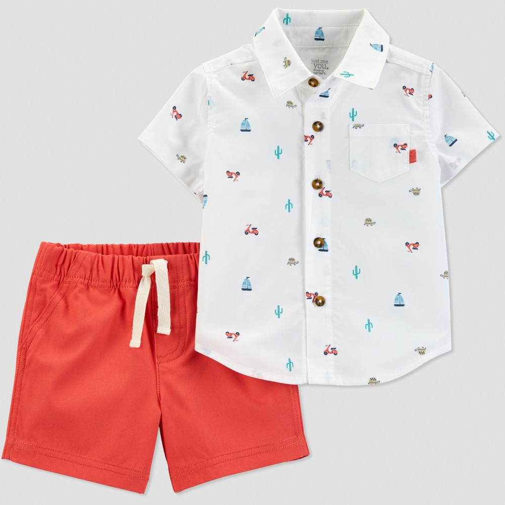 Baby Boys' 2pc Boat Print Shorts Set - Just One You made by carter's White/Orange Newborn