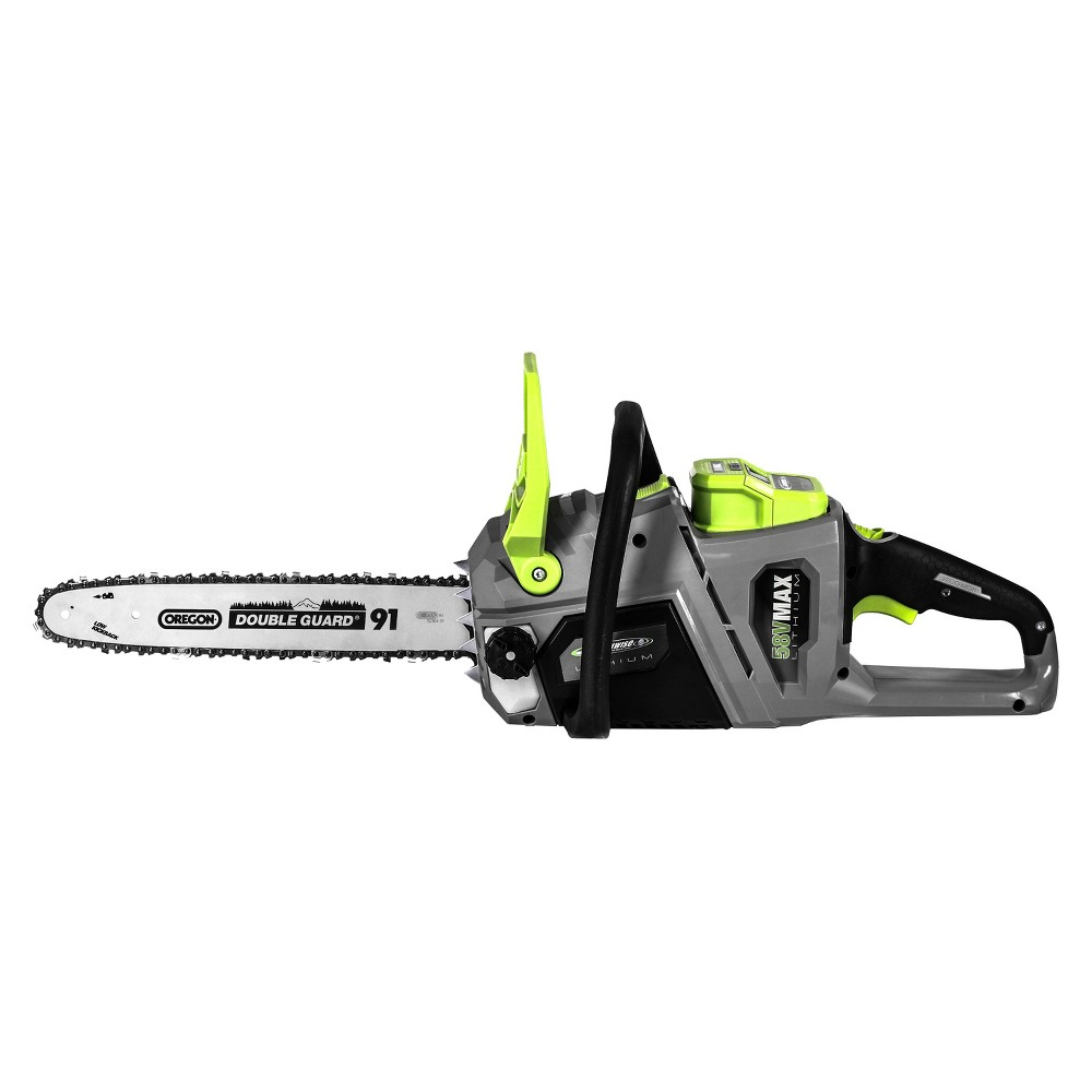 Image of 14 58 Volts, 112 Watts Cordless Lithium Chain Saw - Gray - Earthwise