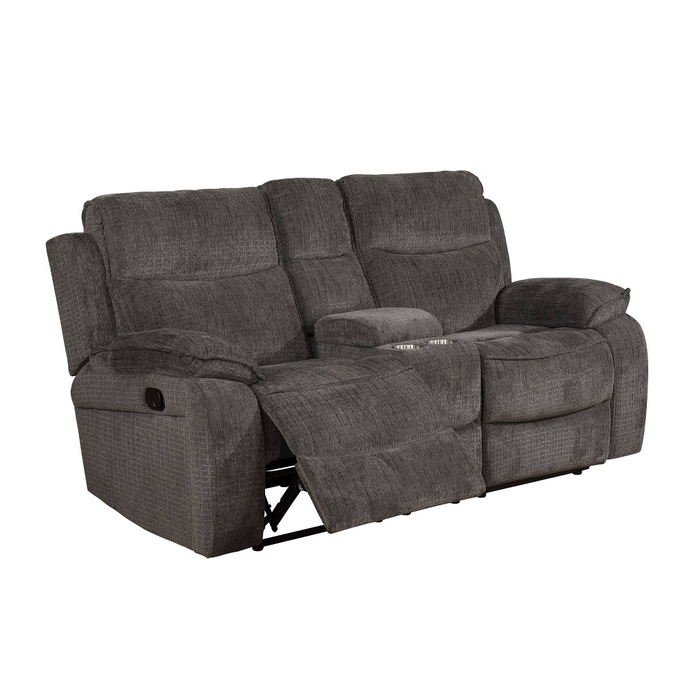 Image of Vanguard Pillow Top Arms Recliner Love Seat Gray - miBasics