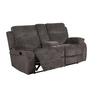 Vanguard Pillow Top Arms Recliner Love Seat Gray - miBasics