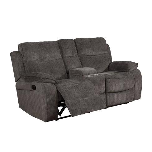 Vanguard Pillow Top Arms Recliner Love Seat Gray - miBasics - image 1 of 4