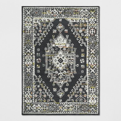 5'X7' Tufted Area Rug Persian Charcoal Heather - Threshold™