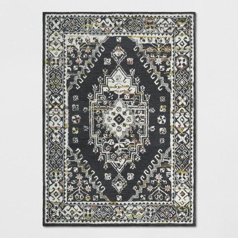 5 X7 Tufted Area Rug Persian Charcoal Heather Threshold