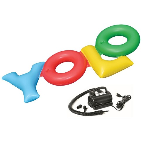 Swimline Inflatable YOLO Raft Float + Electric Air Pump Inflator | 90631+9095 - image 1 of 4