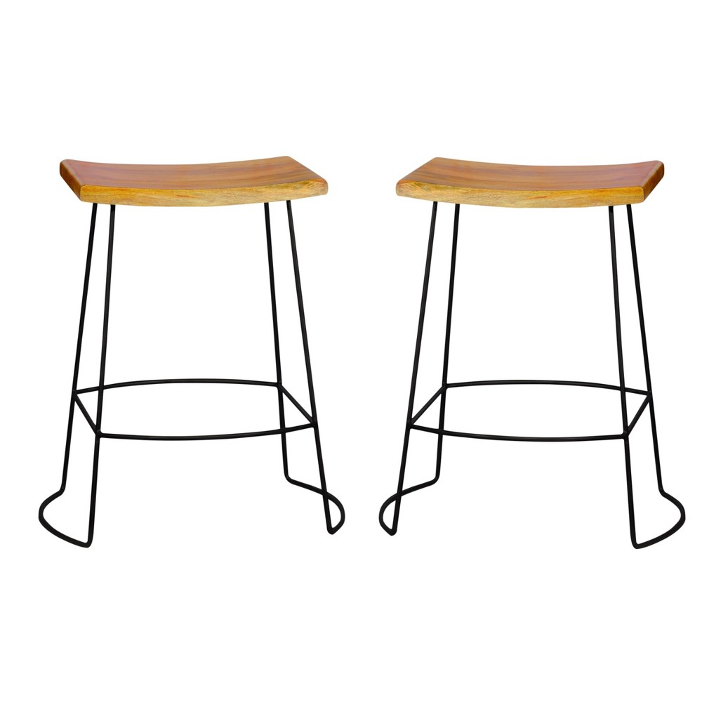 "Image of ""24"""" Portia Saddle Seat Stool (Set of 2) - Natural/Black - Carolina Chair and Table, Brown"""