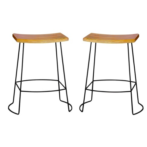 "24"" Portia Saddle Seat Stool (Set of 2) - Natural/Black - Carolina Chair and Table - image 1 of 1"