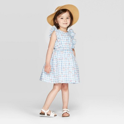 Mila & Emma Toddler Girls' Floral Print Ruffle Sleeve Smocking Dress - Light Blue/White 12M