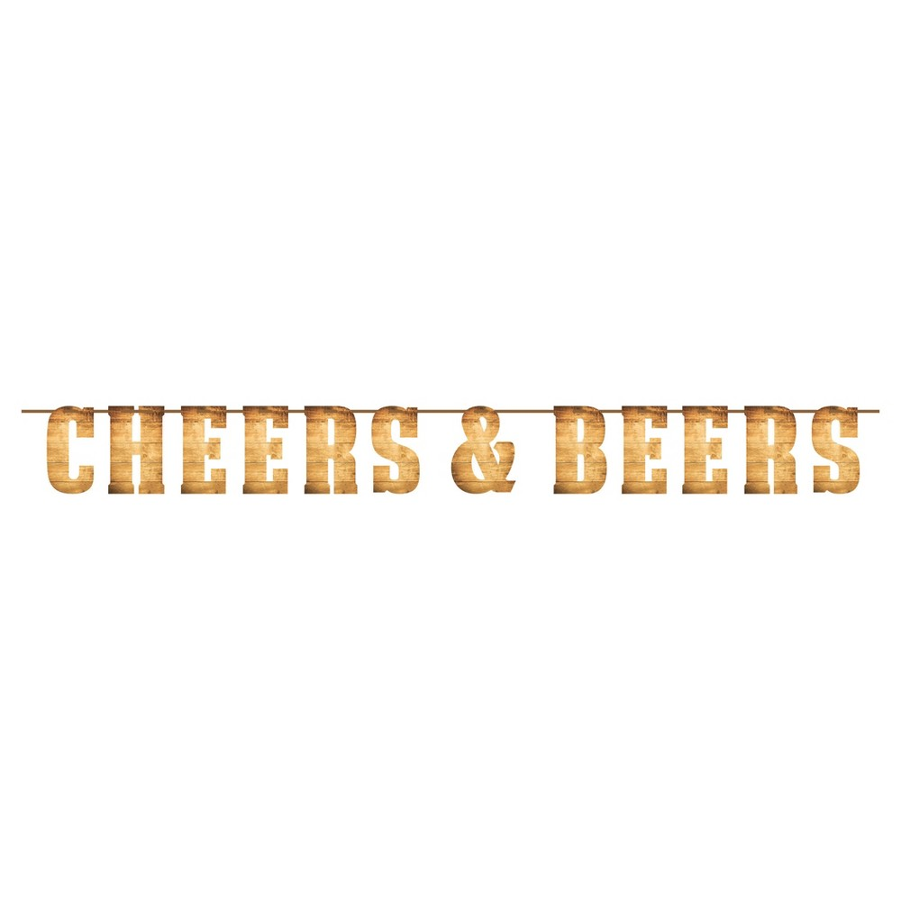 """Cheers & Beers Letter Banner Get the party started in style at your next get-together with this Cheers and Beers Letter Banner. Featuring woodgrain lettering, the banner spells out """"Cheers and Beers"""" and can be easily hung around the party scene. The letter banner is sold individually and can be coordinated with other Cheers and Beers party supplies. Color: Multi-Colored. Pattern: Solid."""