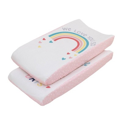 "NoJo Little Love ""We Love You So"" Multi Color Rainbow Super Soft Changing Pad Covers - 2pc"