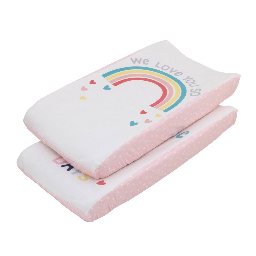 """Image of """"NoJo Little Love """"""""We Love You So"""""""" Multi Color Rainbow Super Soft Changing Pad Covers - 2pc"""""""