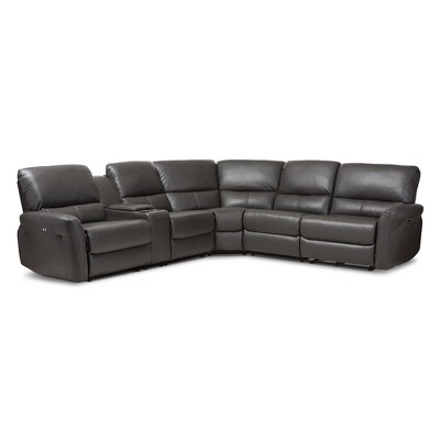 5pc Amaris Modern and Contemporary Bonded Leather Power Reclining Sectional Sofa with USB Ports Gray - Baxton Studio