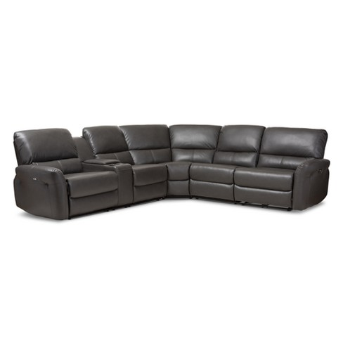 Amaris Modern and Contemporary Bonded Leather 5pc Power Reclining Sectional  Sofa with USB Ports Gray - Baxton Studio